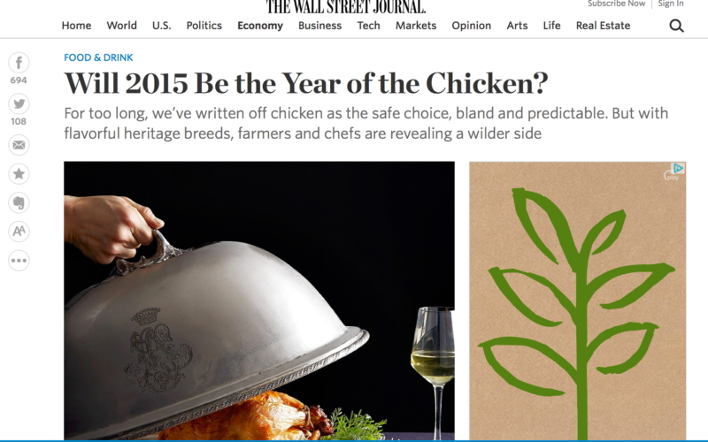 Our Name In Print… Sunbird Farms Gets a Mention in the Wall Street Journal